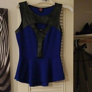 Bebe blue and black club top